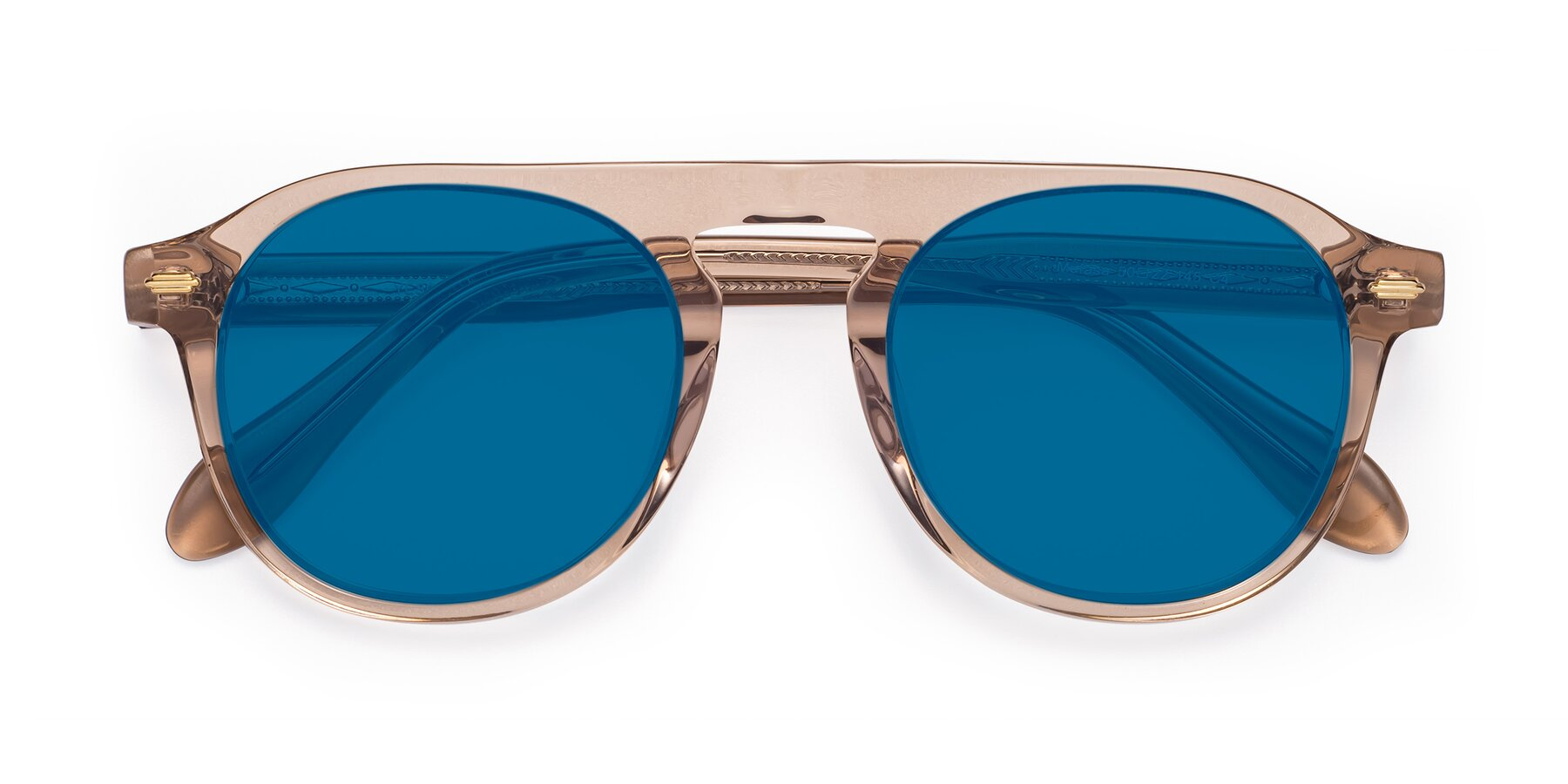 Folded Front of Mufasa in light Brown with Blue Tinted Lenses