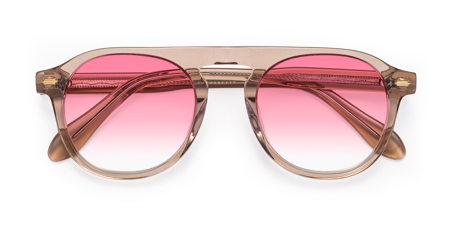 Folded Front of Mufasa in light Brown with Pink Gradient Lenses