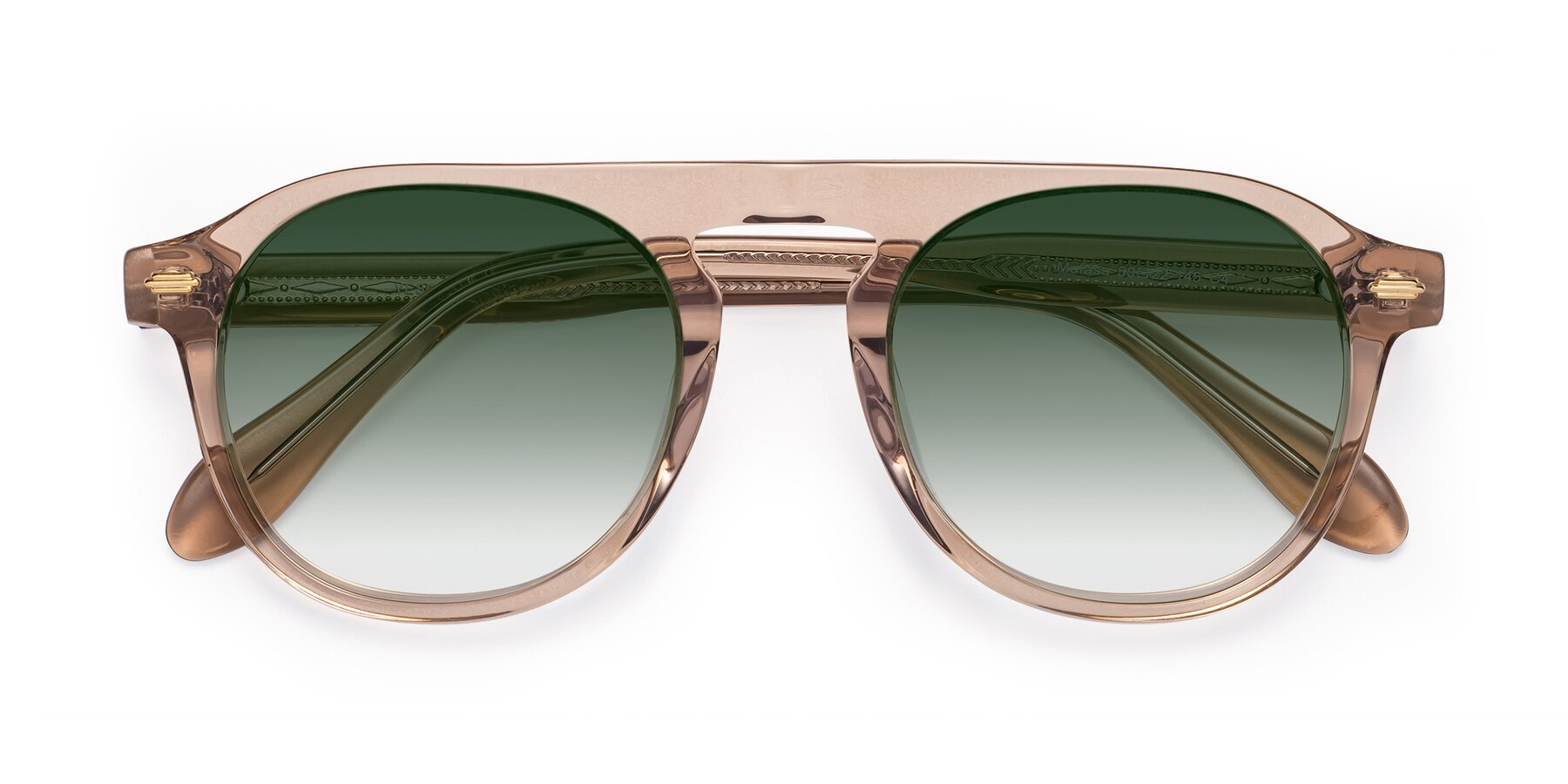 Folded Front of Mufasa in light Brown with Green Gradient Lenses