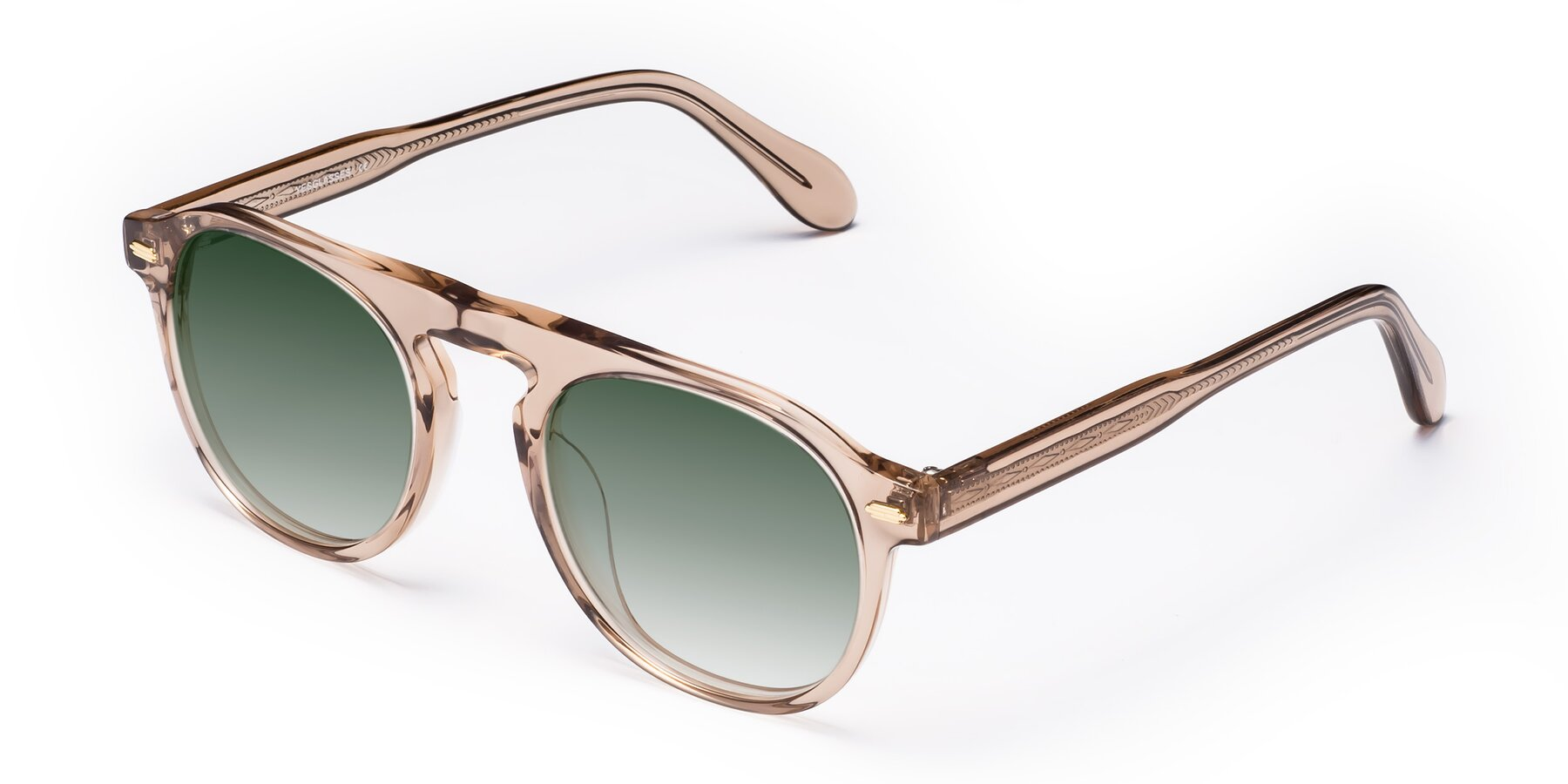 Angle of Mufasa in light Brown with Green Gradient Lenses