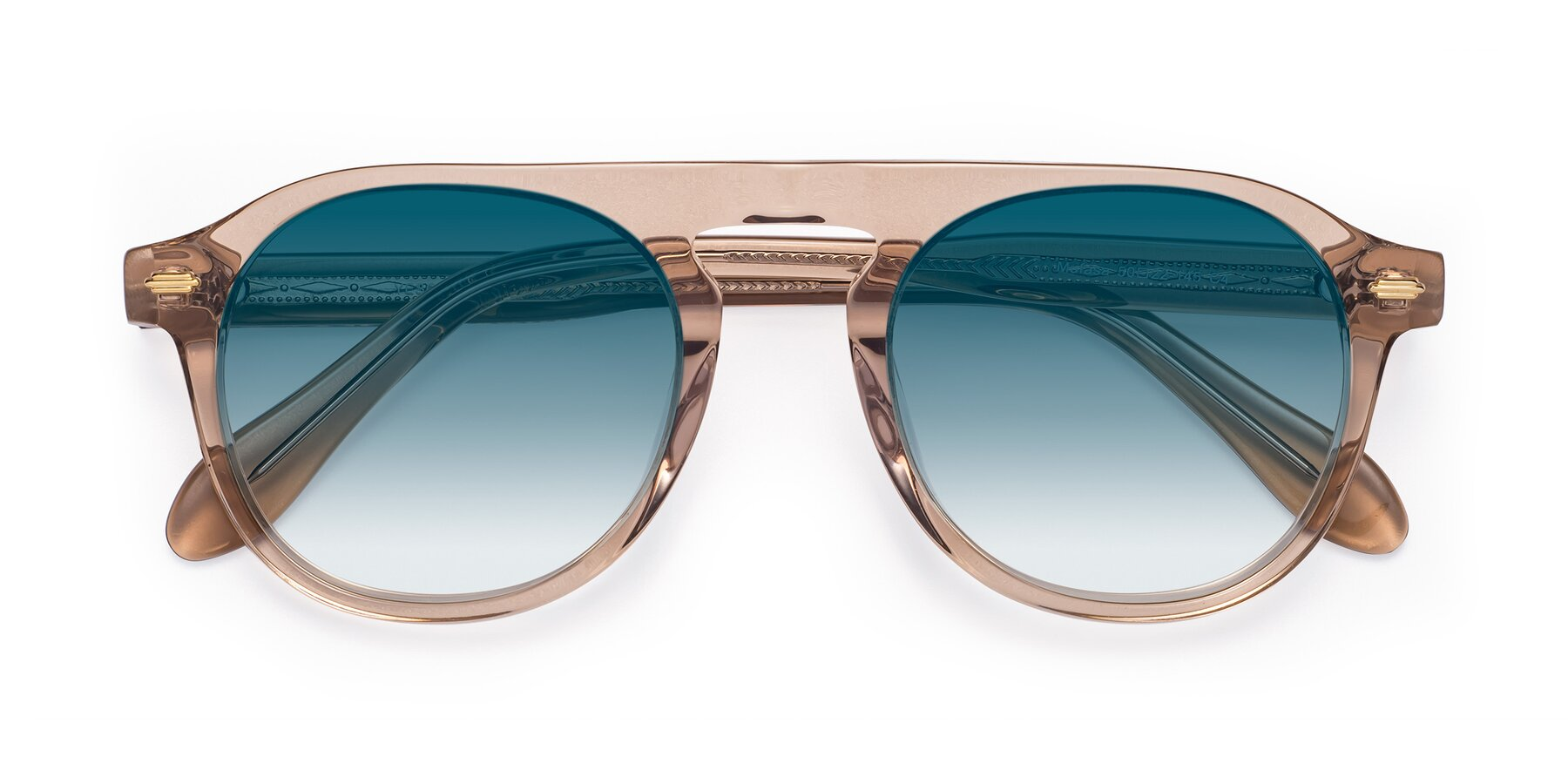 Folded Front of Mufasa in light Brown with Blue Gradient Lenses