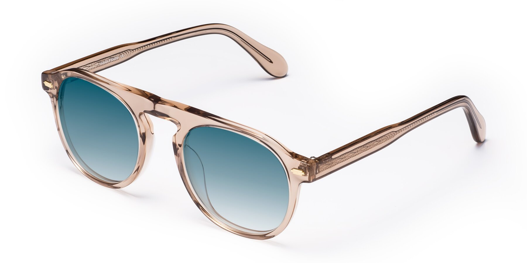 Angle of Mufasa in light Brown with Blue Gradient Lenses