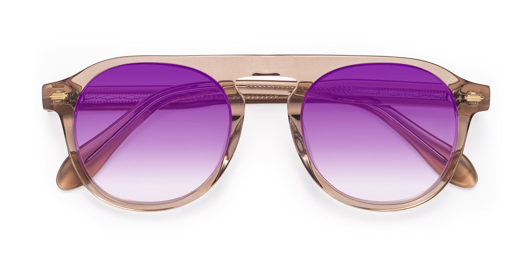Folded Front of Mufasa in light Brown with Purple Gradient Lenses