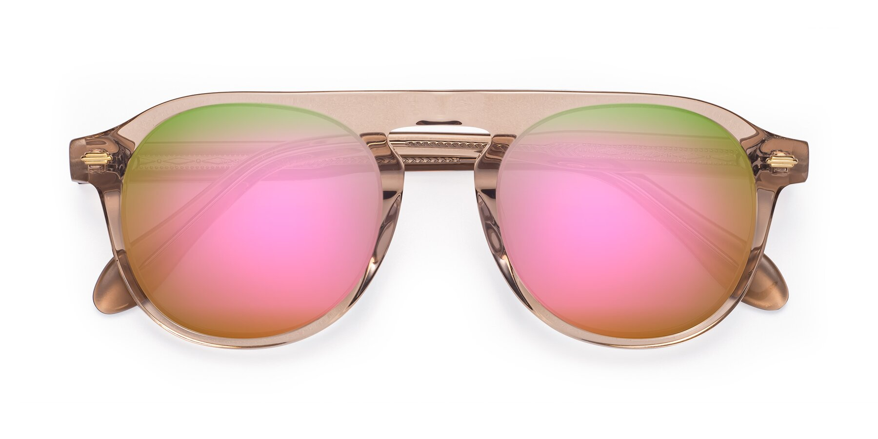 Folded Front of Mufasa in light Brown with Pink Mirrored Lenses
