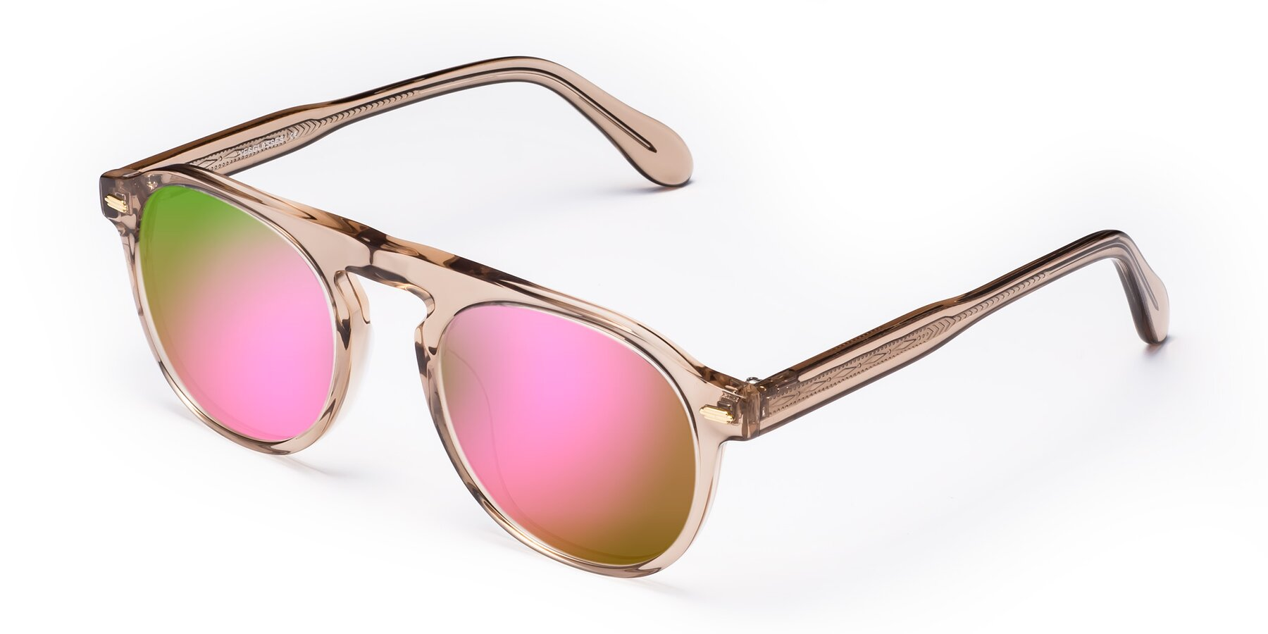 Angle of Mufasa in light Brown with Pink Mirrored Lenses