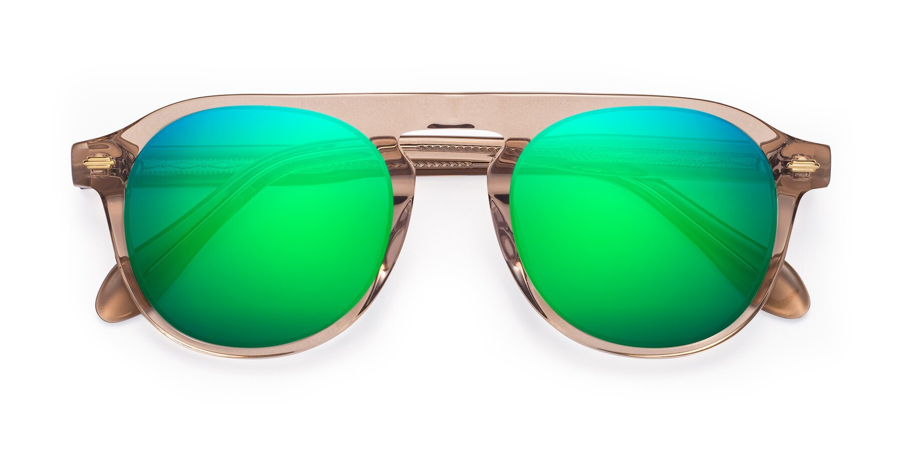 Folded Front of Mufasa in light Brown with Green Mirrored Lenses