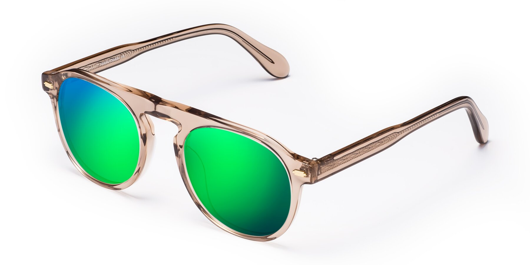 Angle of Mufasa in light Brown with Green Mirrored Lenses