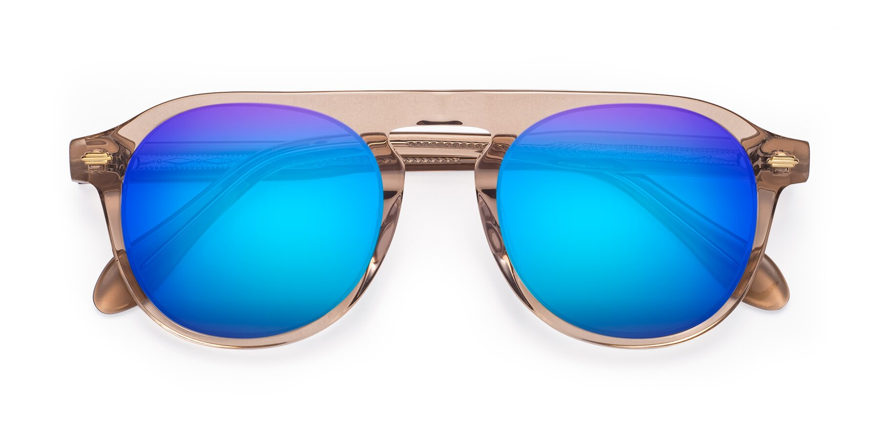 Folded Front of Mufasa in light Brown with Blue Mirrored Lenses