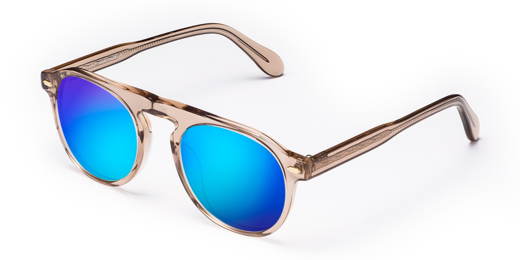 Angle of Mufasa in light Brown with Blue Mirrored Lenses
