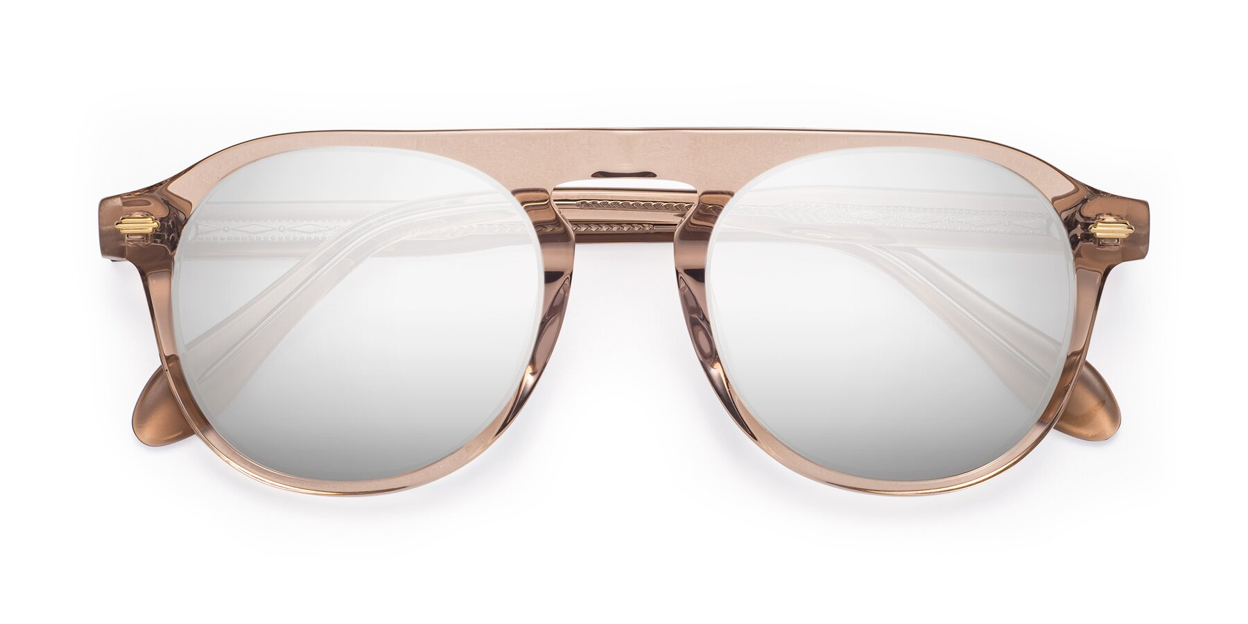 Folded Front of Mufasa in light Brown with Silver Mirrored Lenses