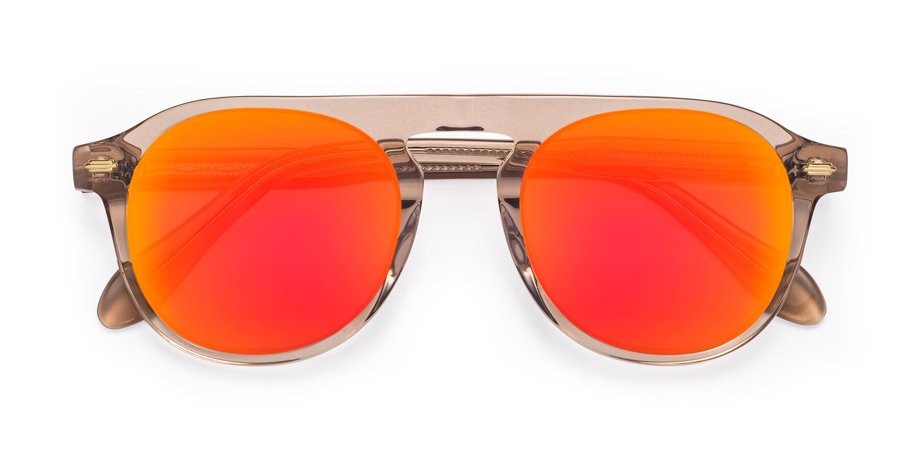Folded Front of Mufasa in light Brown with Red Gold Mirrored Lenses