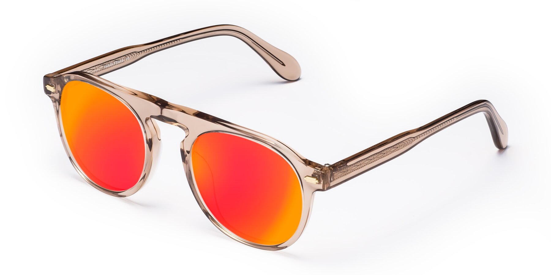 Angle of Mufasa in light Brown with Red Gold Mirrored Lenses