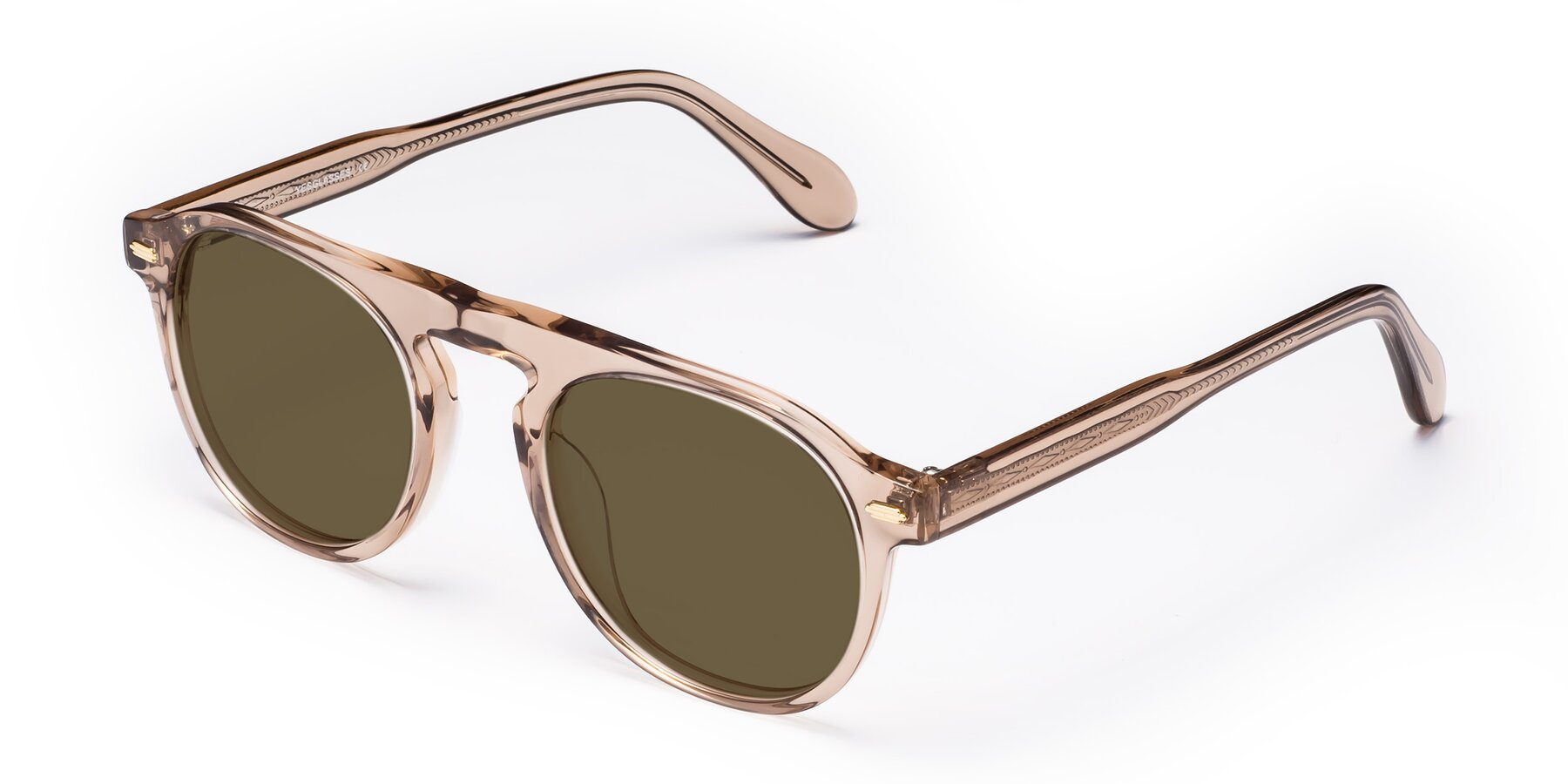 Angle of Mufasa in light Brown with Brown Polarized Lenses