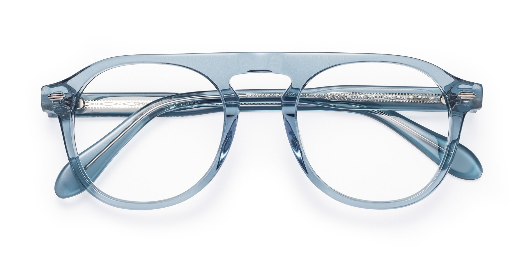Folded Front of Mufasa in Light Blue with Clear Eyeglass Lenses