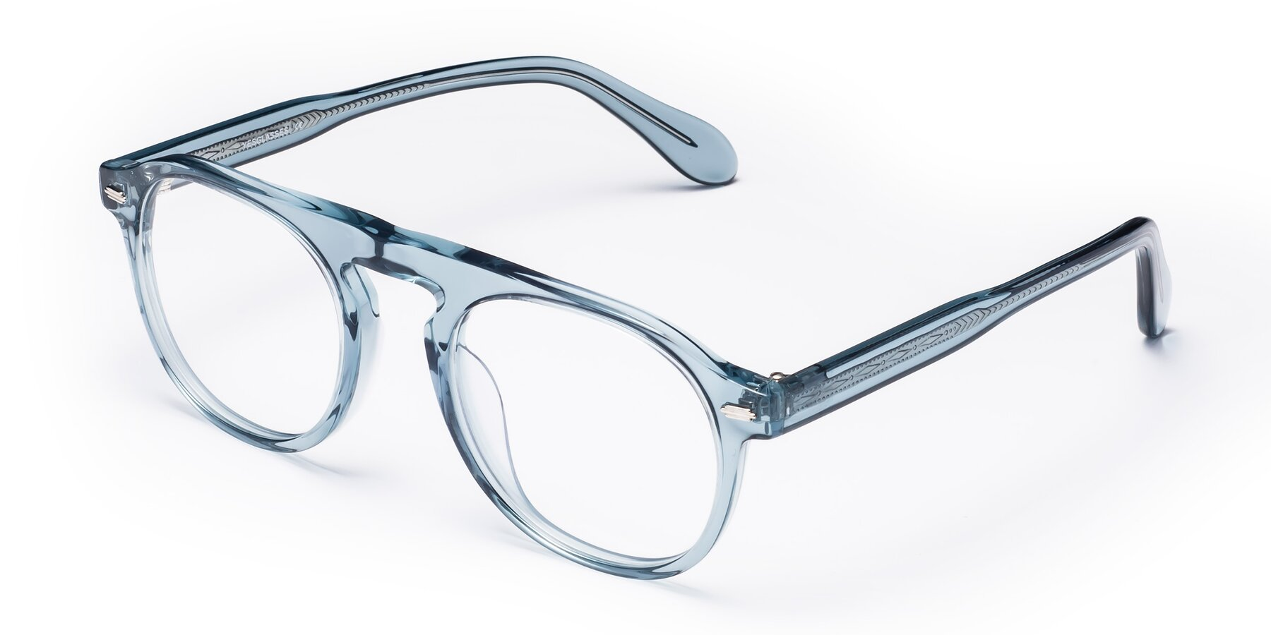 Angle of Mufasa in Light Blue with Clear Eyeglass Lenses