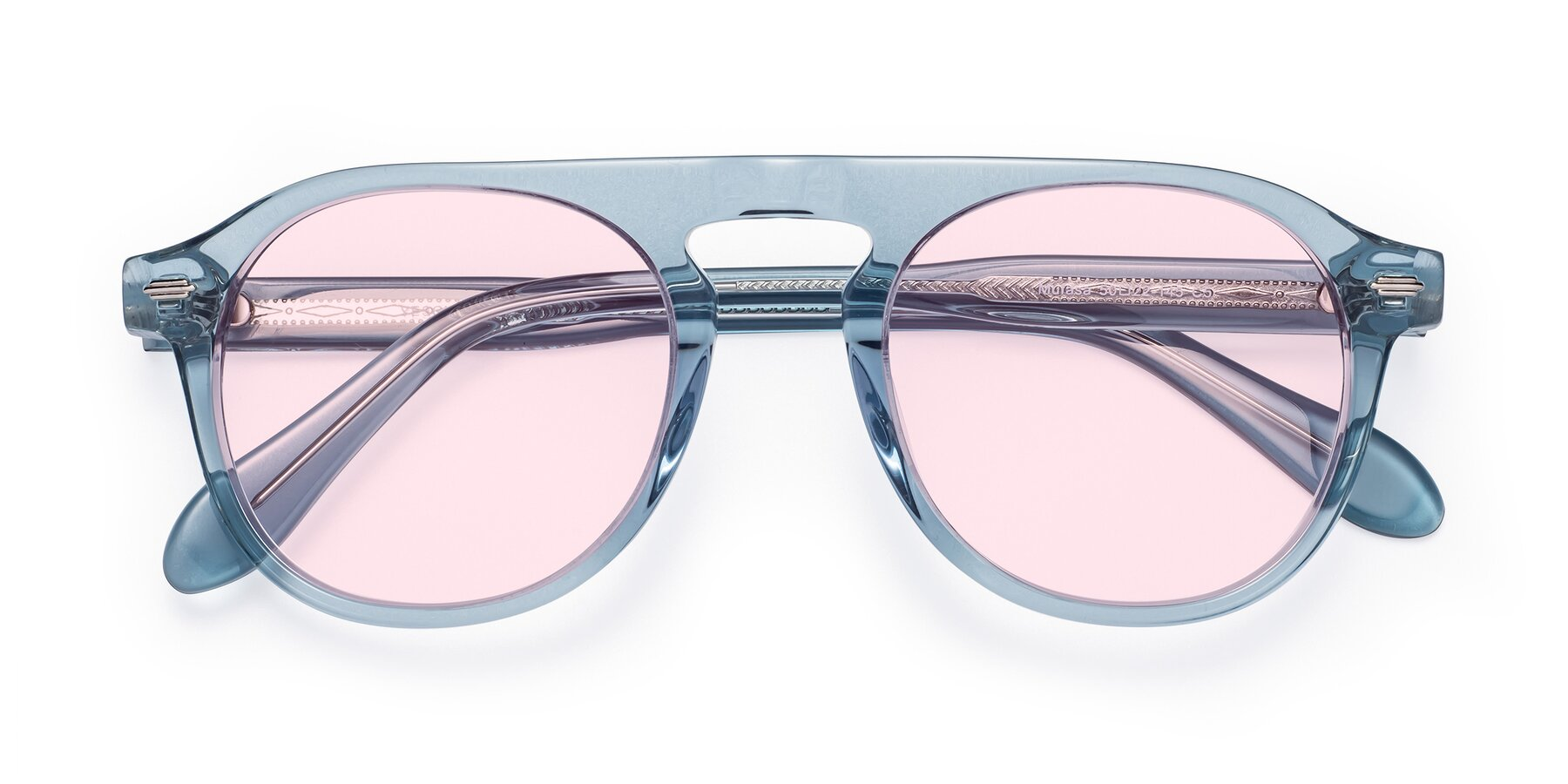 Folded Front of Mufasa in Light Blue with Light Pink Tinted Lenses