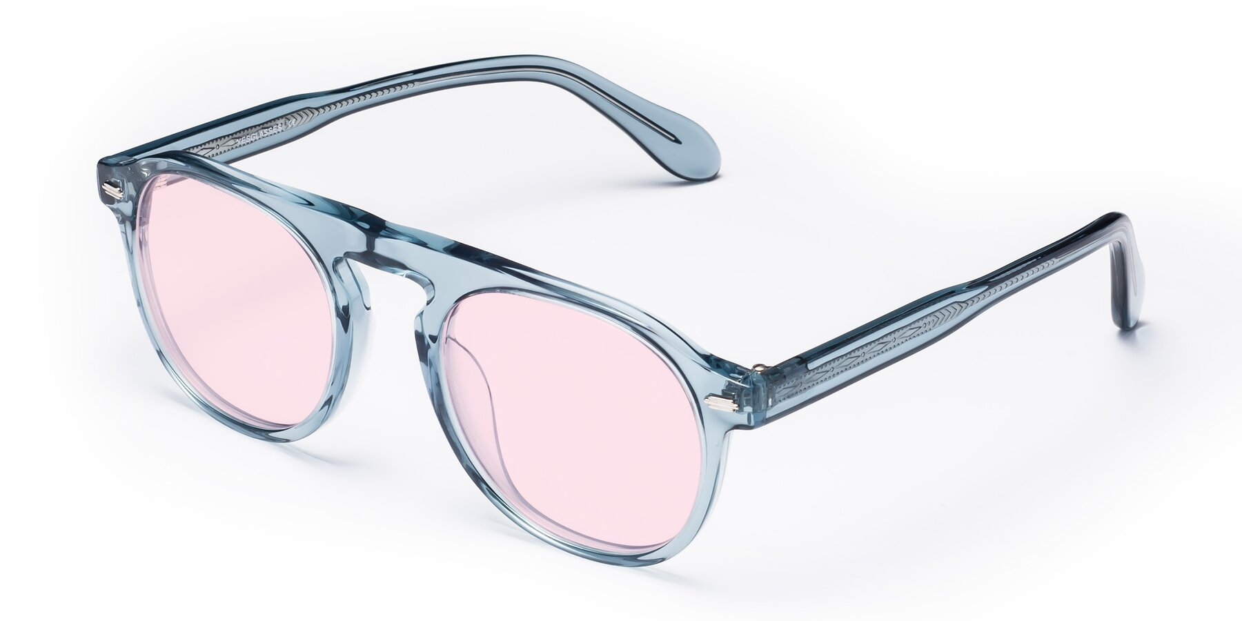 Angle of Mufasa in Light Blue with Light Pink Tinted Lenses