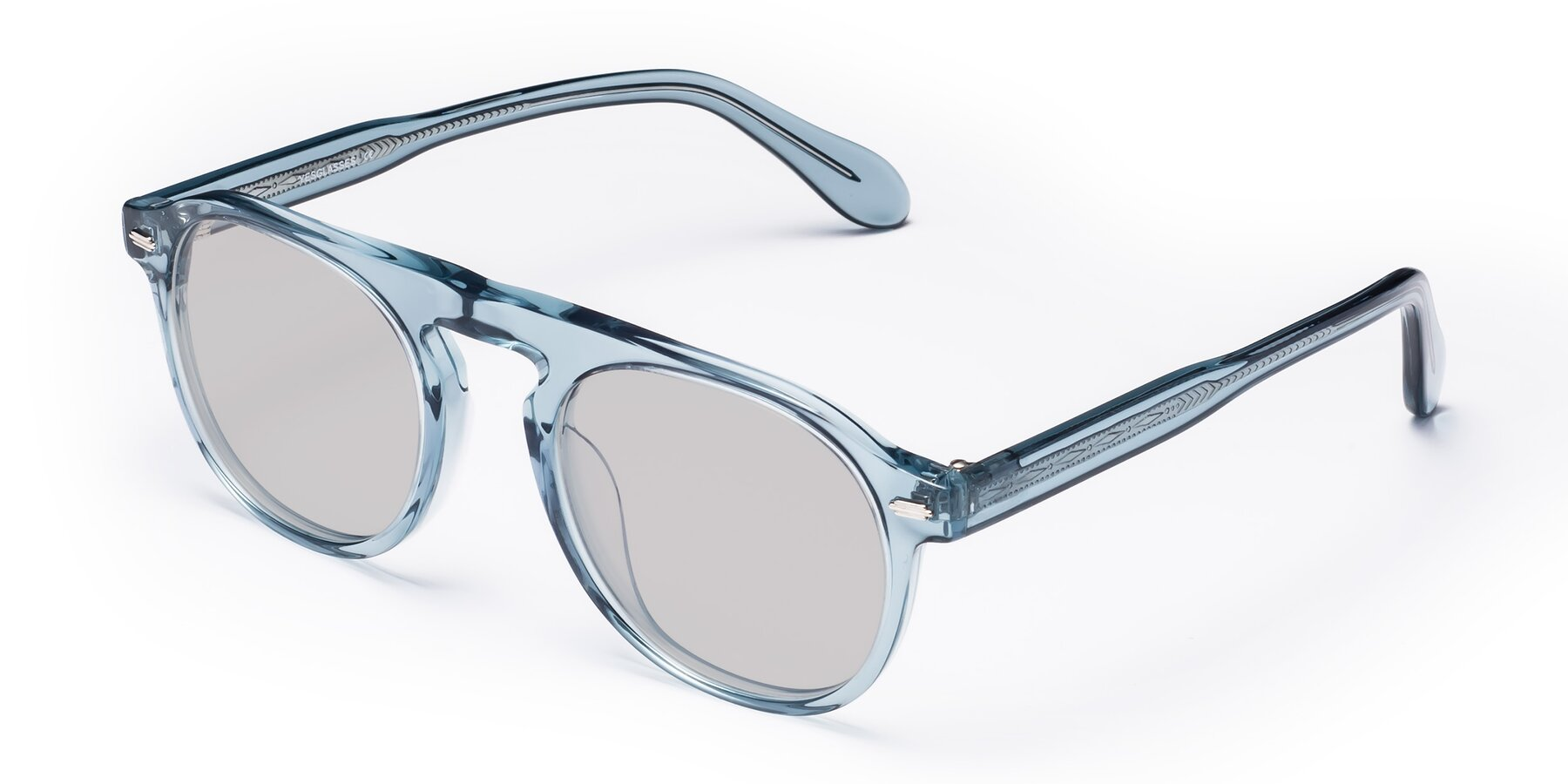 Angle of Mufasa in Light Blue with Light Gray Tinted Lenses