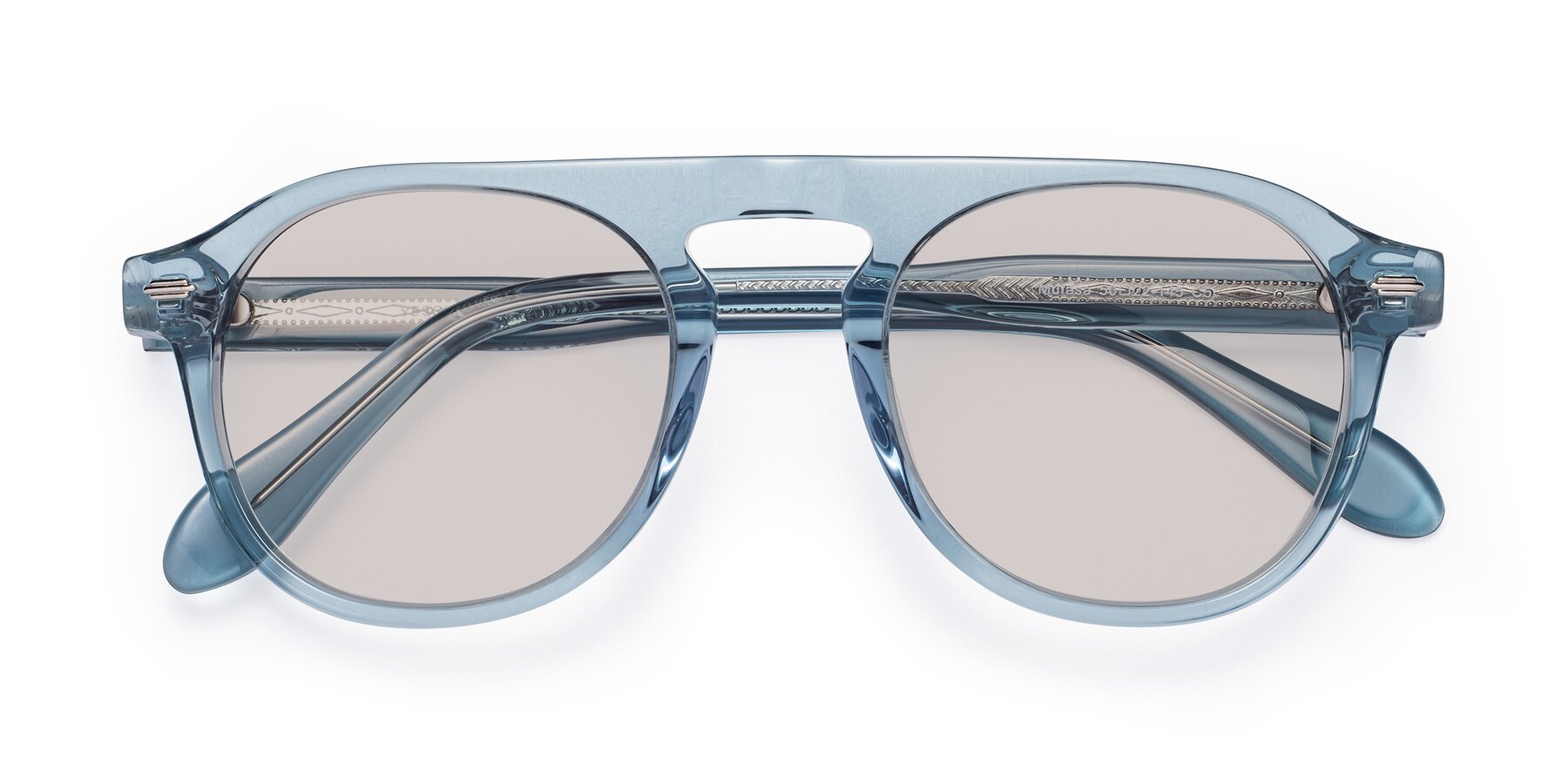 Folded Front of Mufasa in Light Blue with Light Brown Tinted Lenses