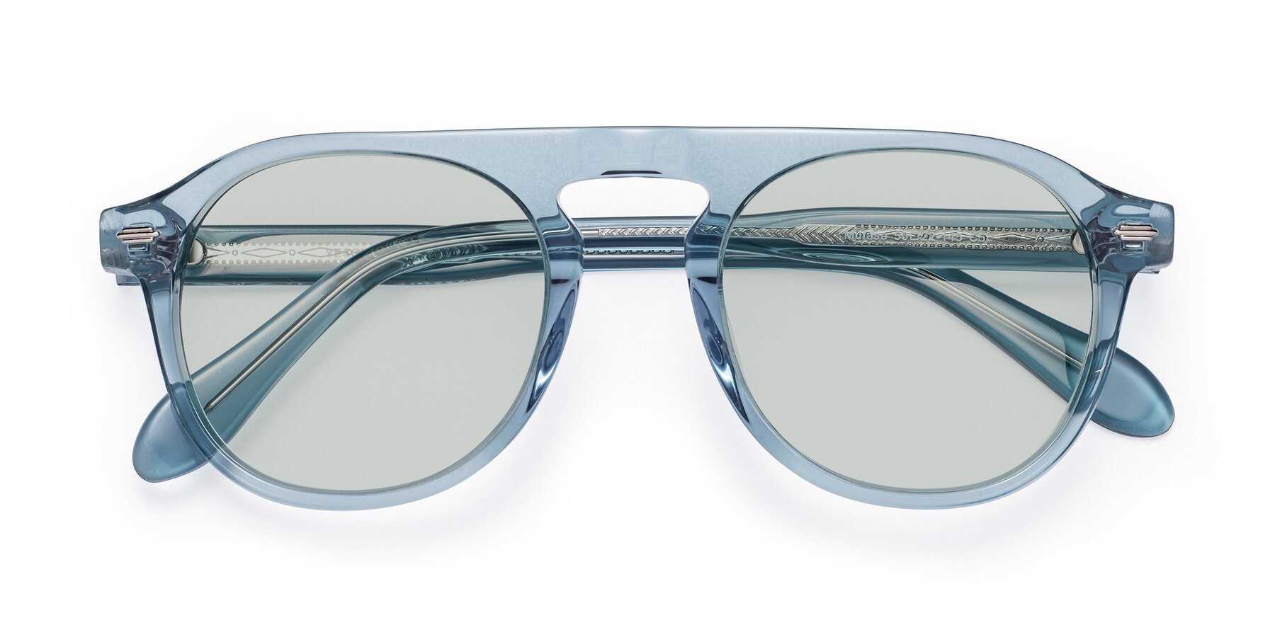 Folded Front of Mufasa in Light Blue with Light Green Tinted Lenses