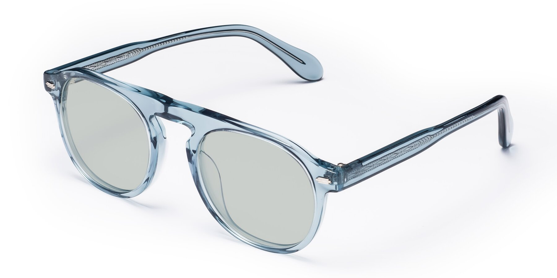 Angle of Mufasa in Light Blue with Light Green Tinted Lenses