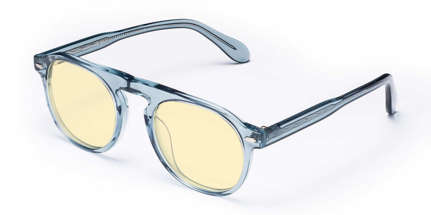 Angle of Mufasa in Light Blue with Light Yellow Tinted Lenses