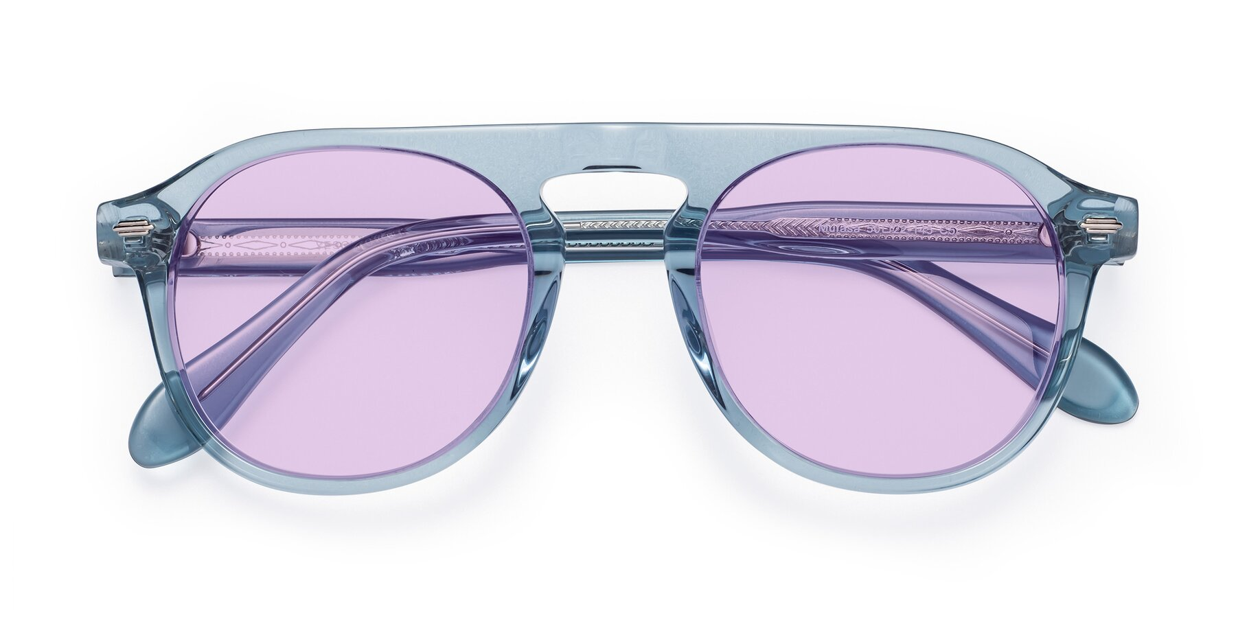 Folded Front of Mufasa in Light Blue with Light Purple Tinted Lenses