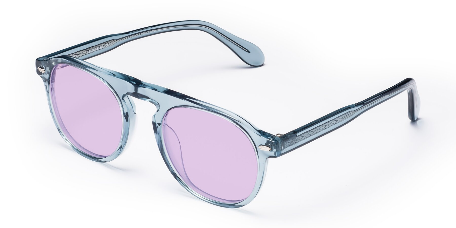 Angle of Mufasa in Light Blue with Light Purple Tinted Lenses