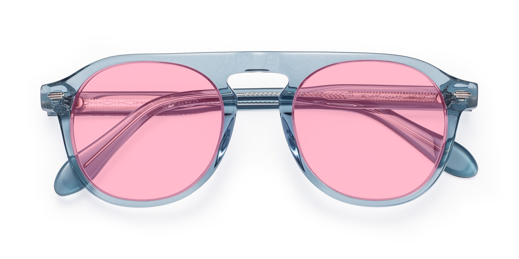 Folded Front of Mufasa in Light Blue with Medium Pink Tinted Lenses