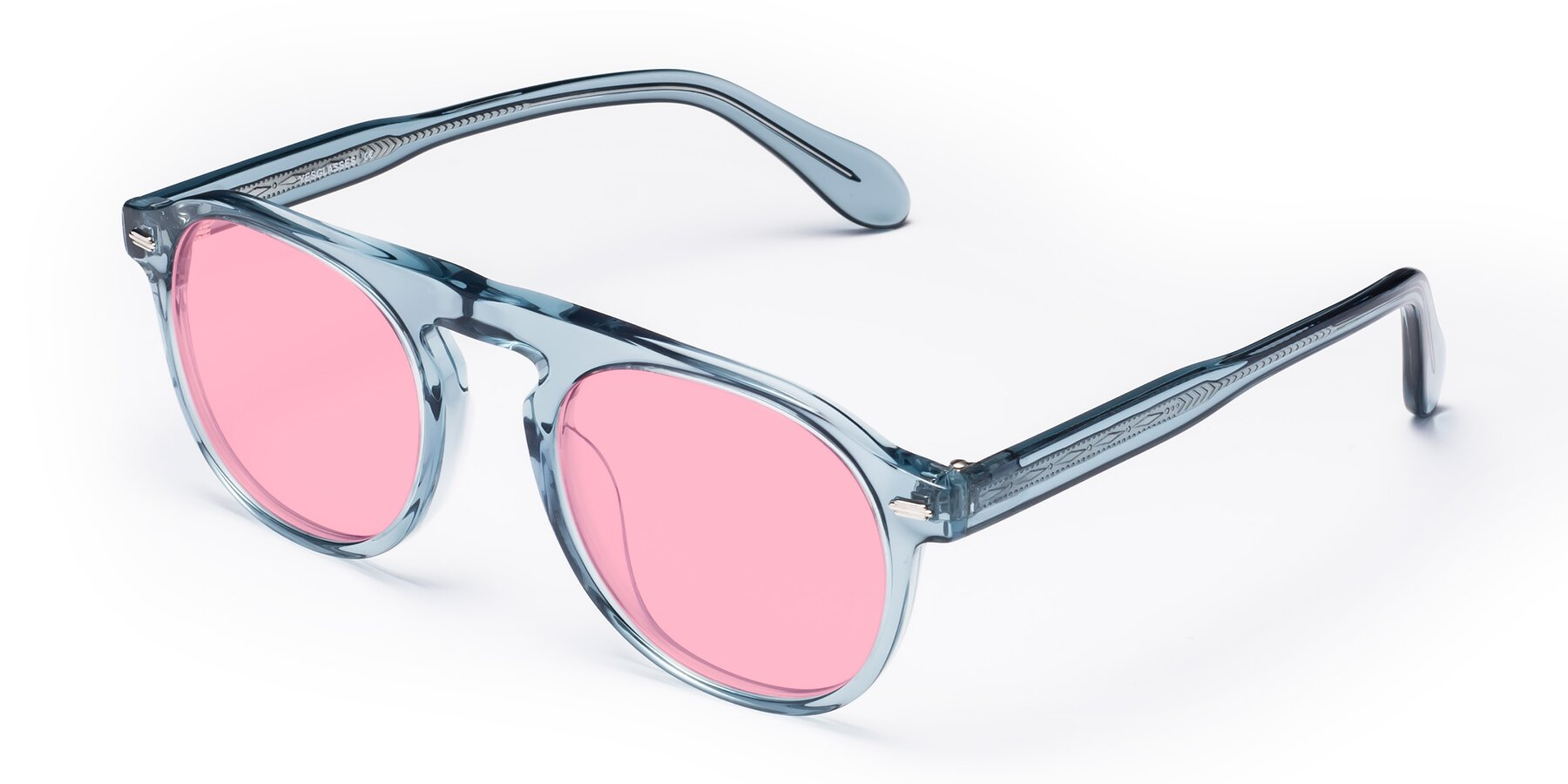 Angle of Mufasa in Light Blue with Medium Pink Tinted Lenses