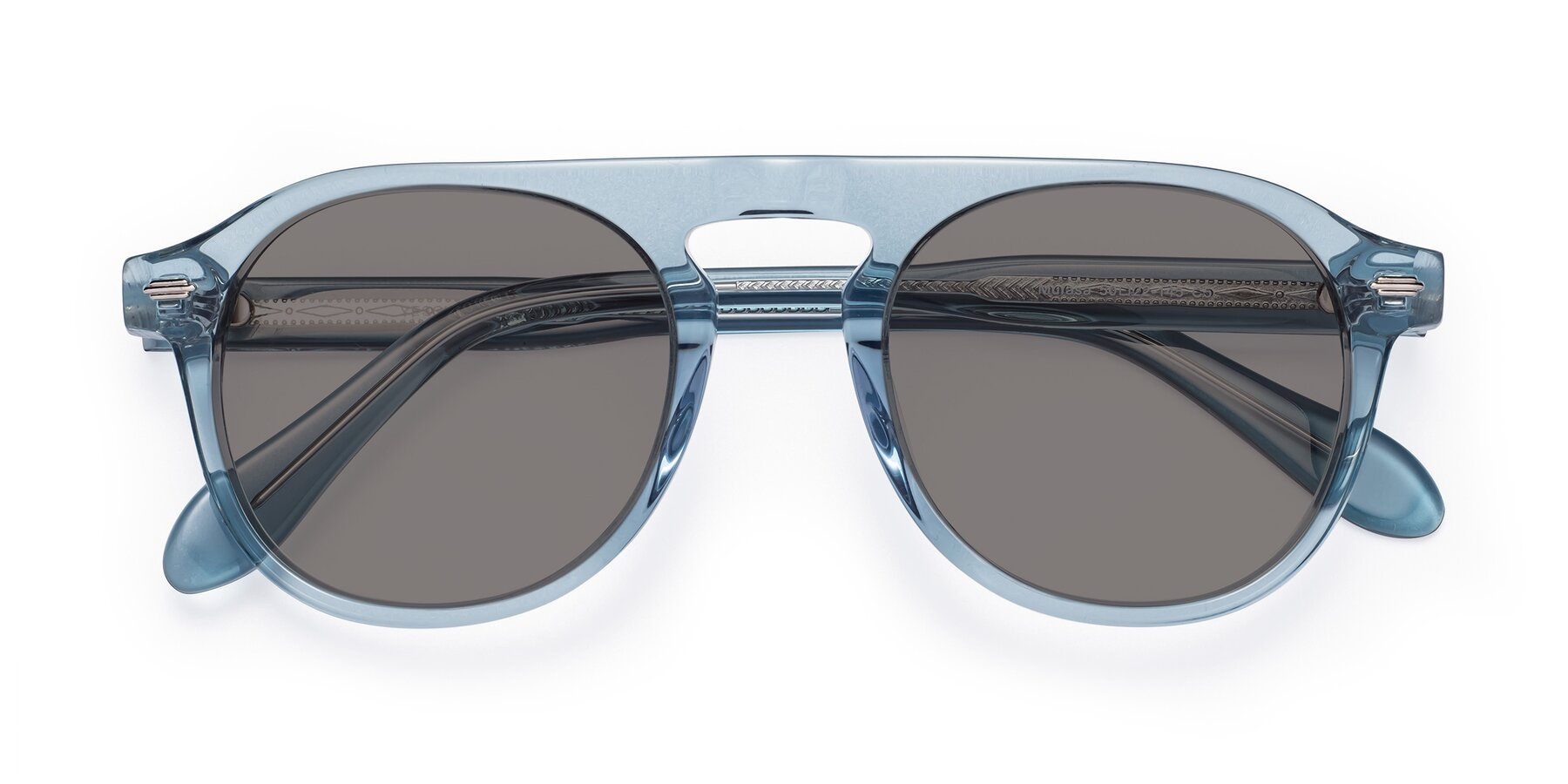 Folded Front of Mufasa in Light Blue with Medium Gray Tinted Lenses