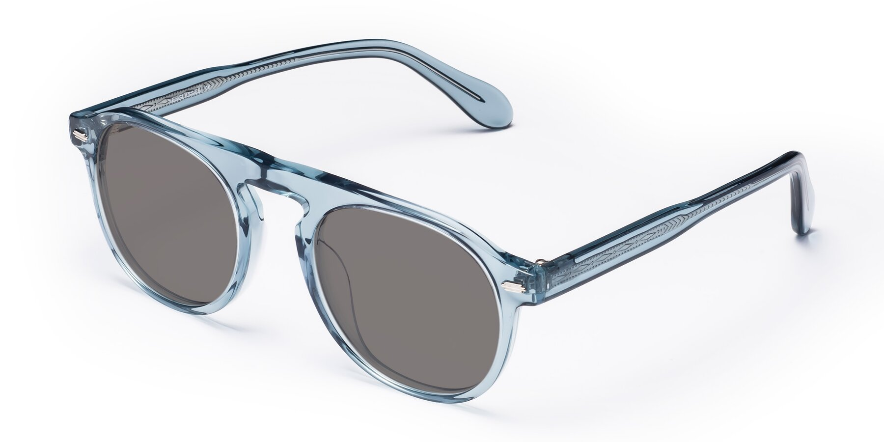 Angle of Mufasa in Light Blue with Medium Gray Tinted Lenses