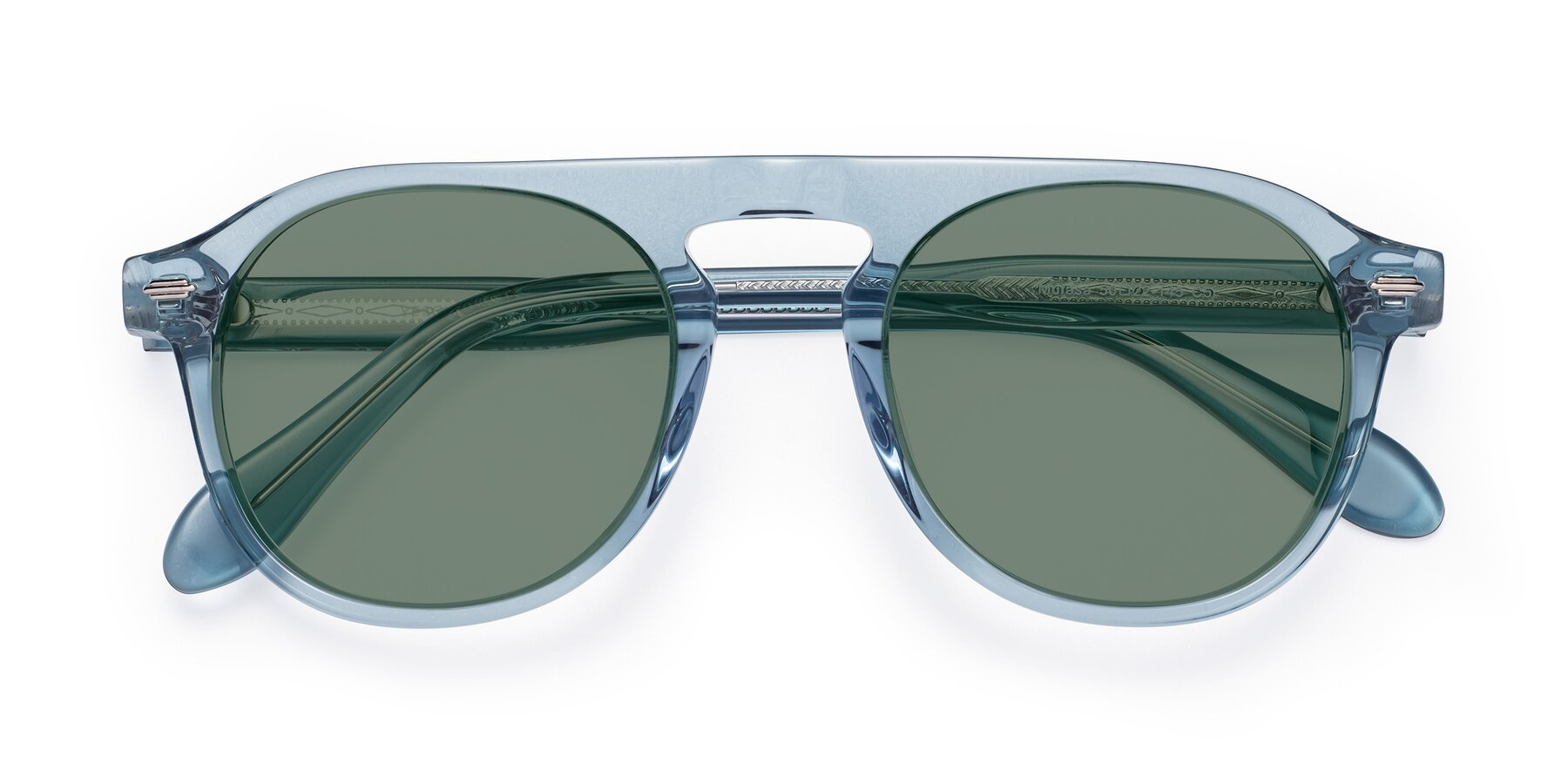 Folded Front of Mufasa in Light Blue with Medium Green Tinted Lenses
