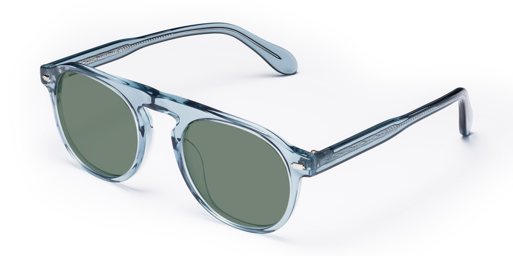 Angle of Mufasa in Light Blue with Medium Green Tinted Lenses