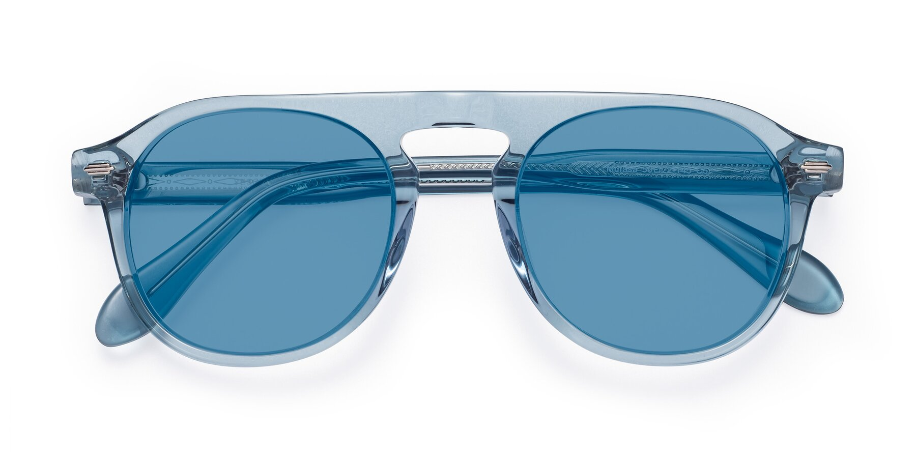 Folded Front of Mufasa in Light Blue with Medium Blue Tinted Lenses