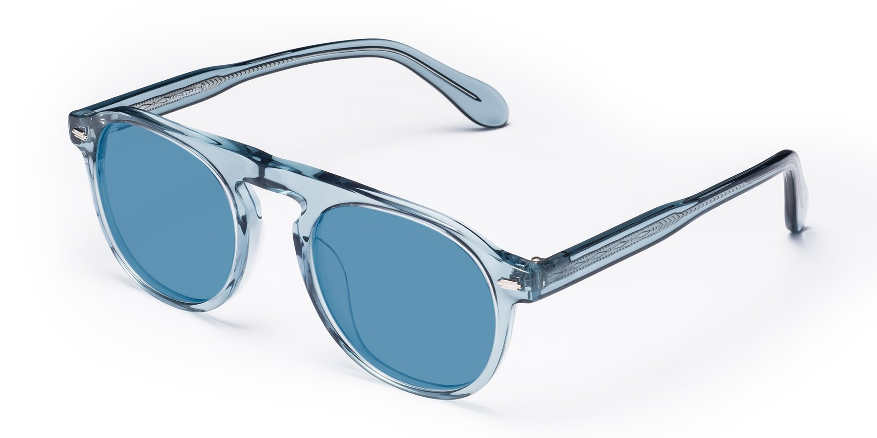 Angle of Mufasa in Light Blue with Medium Blue Tinted Lenses