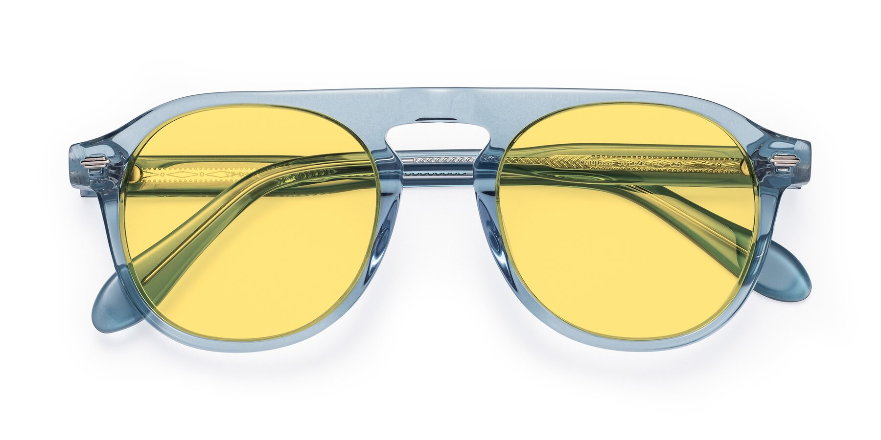Folded Front of Mufasa in Light Blue with Medium Yellow Tinted Lenses