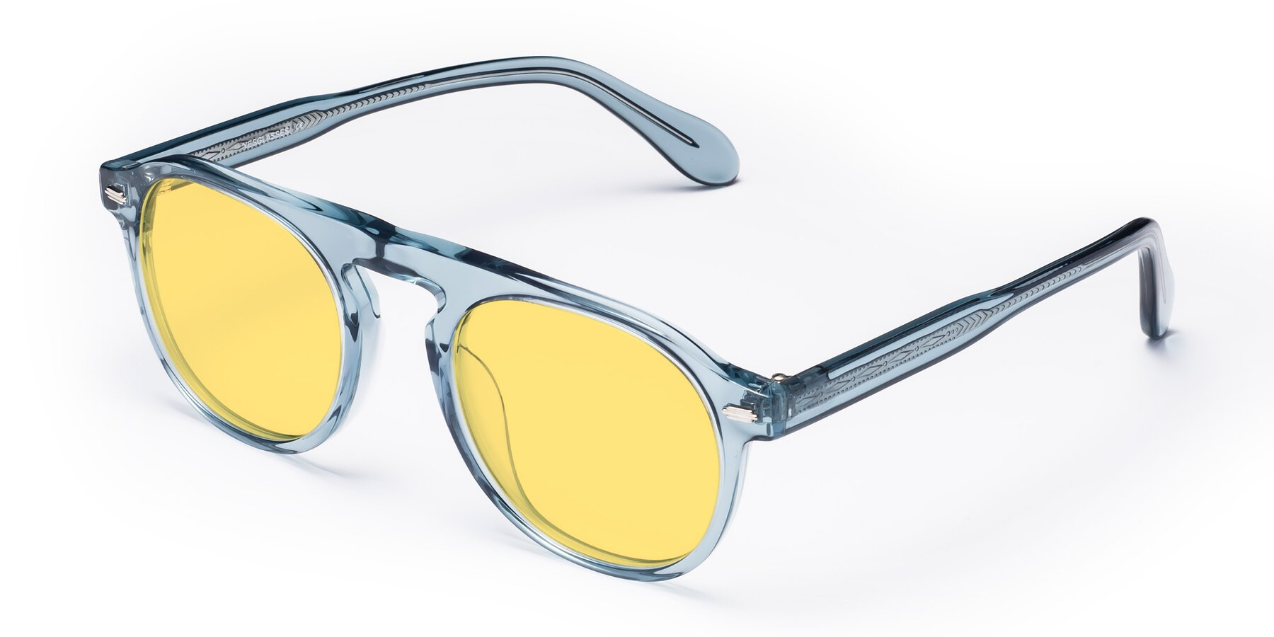 Angle of Mufasa in Light Blue with Medium Yellow Tinted Lenses
