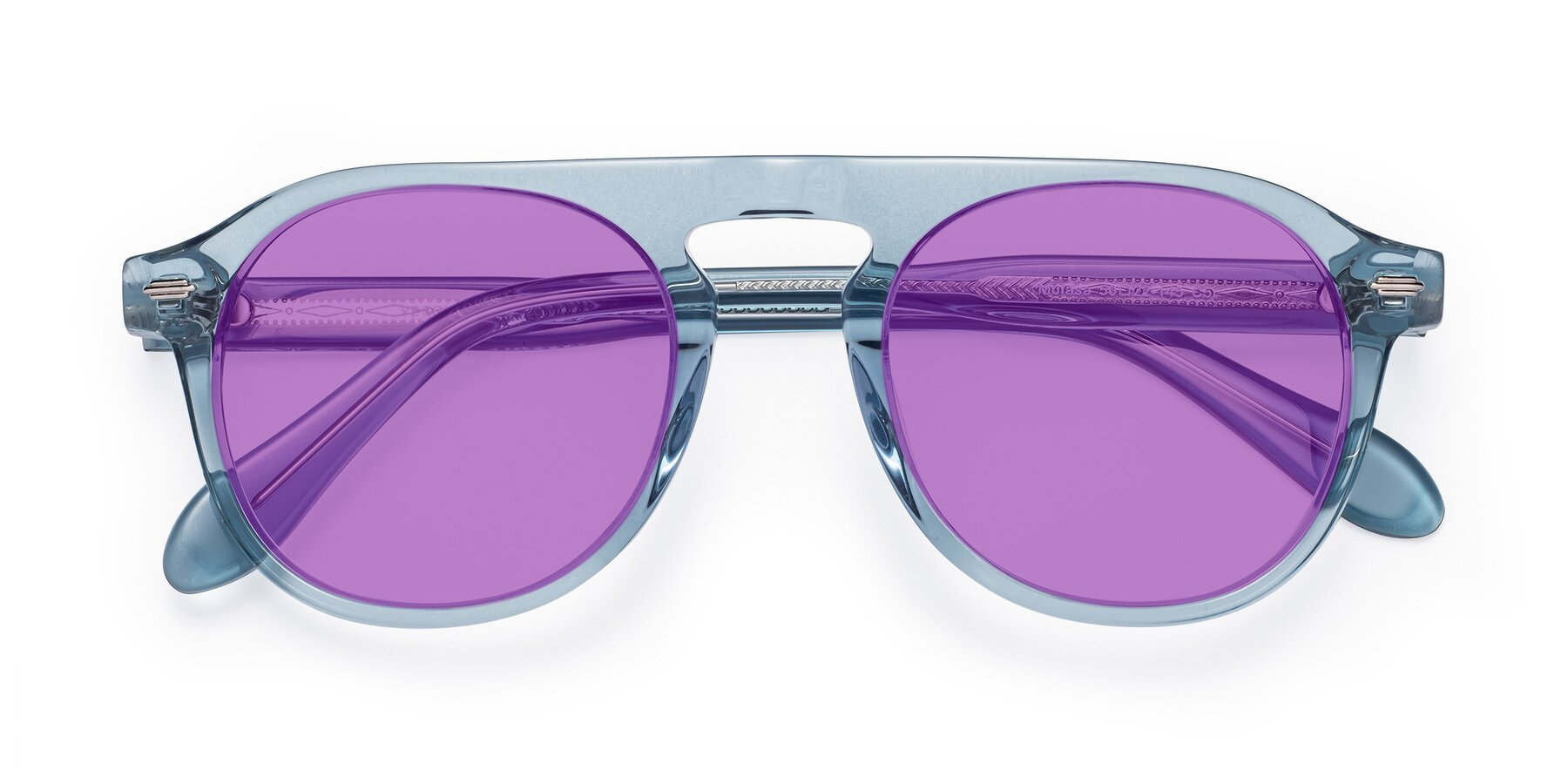 Folded Front of Mufasa in Light Blue with Medium Purple Tinted Lenses