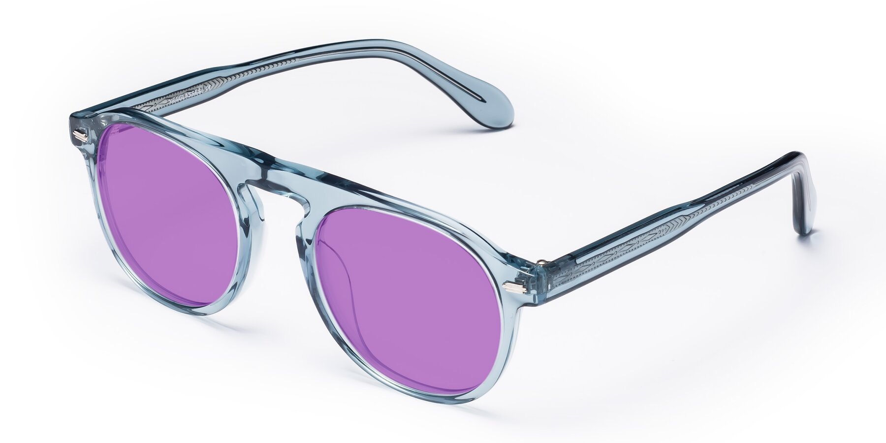 Angle of Mufasa in Light Blue with Medium Purple Tinted Lenses