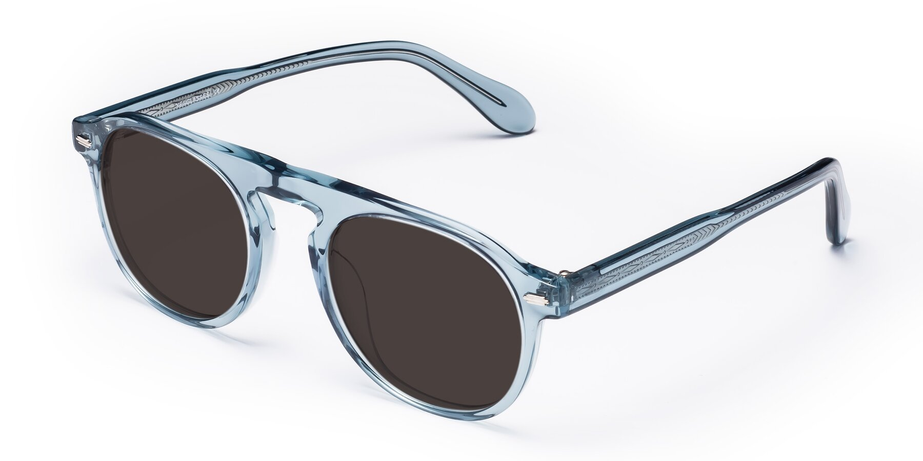 Angle of Mufasa in Light Blue with Gray Tinted Lenses