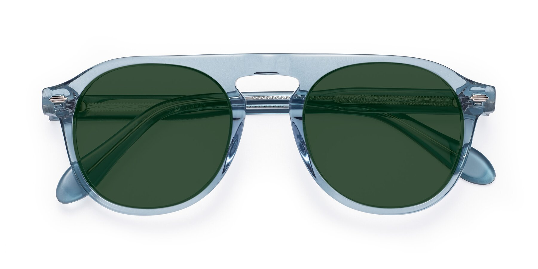 Folded Front of Mufasa in Light Blue with Green Tinted Lenses