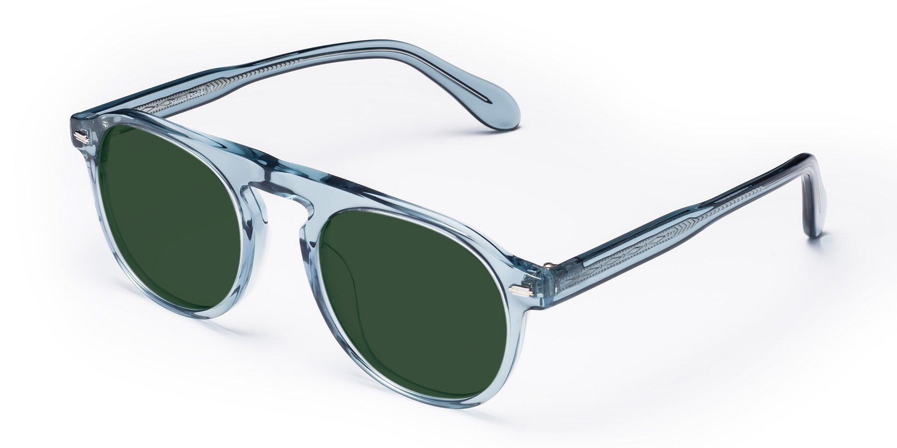Angle of Mufasa in Light Blue with Green Tinted Lenses