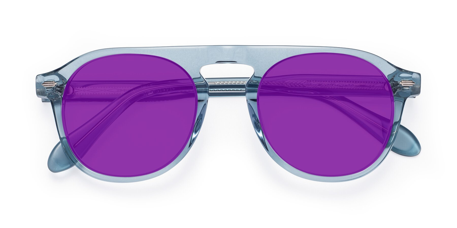 Folded Front of Mufasa in Light Blue with Purple Tinted Lenses