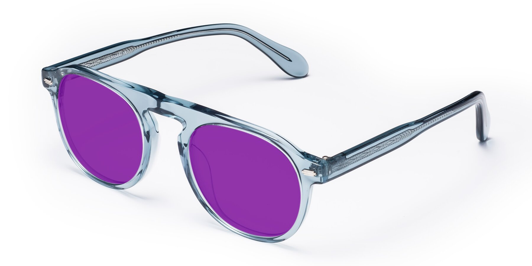 Angle of Mufasa in Light Blue with Purple Tinted Lenses