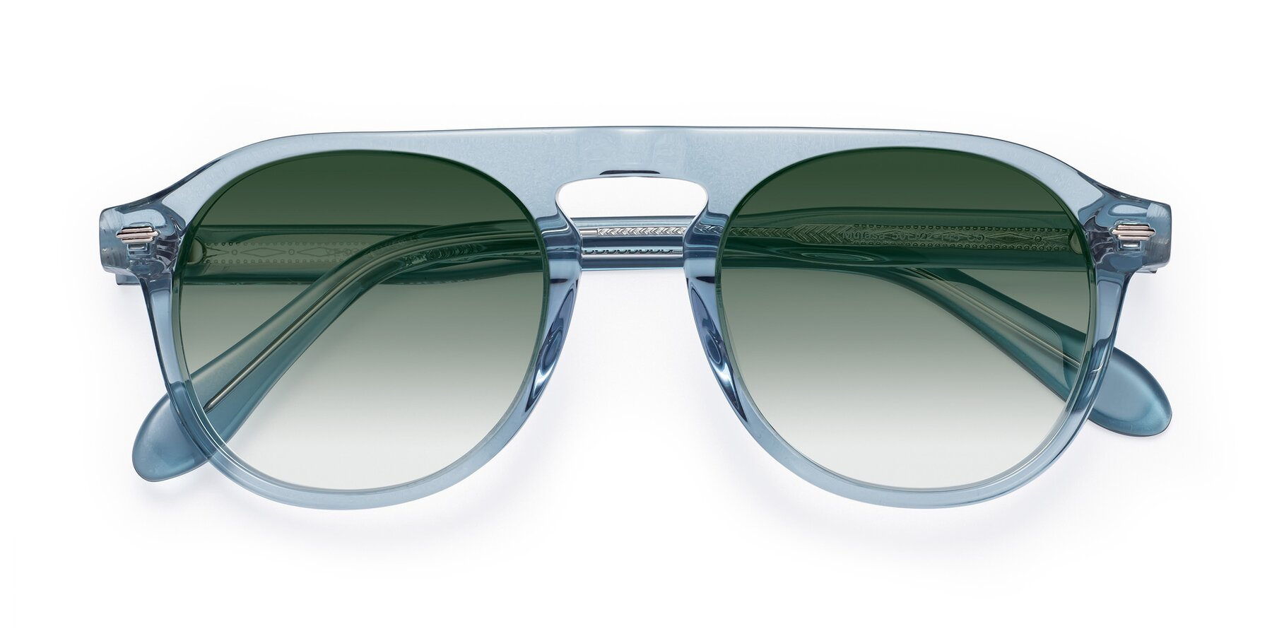 Folded Front of Mufasa in Light Blue with Green Gradient Lenses