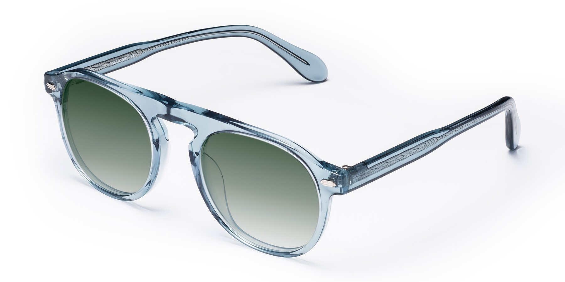 Angle of Mufasa in Light Blue with Green Gradient Lenses