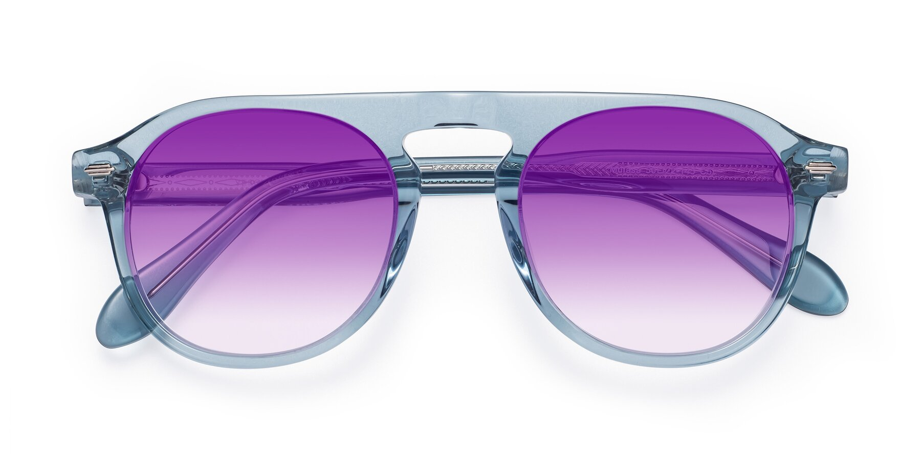 Folded Front of Mufasa in Light Blue with Purple Gradient Lenses