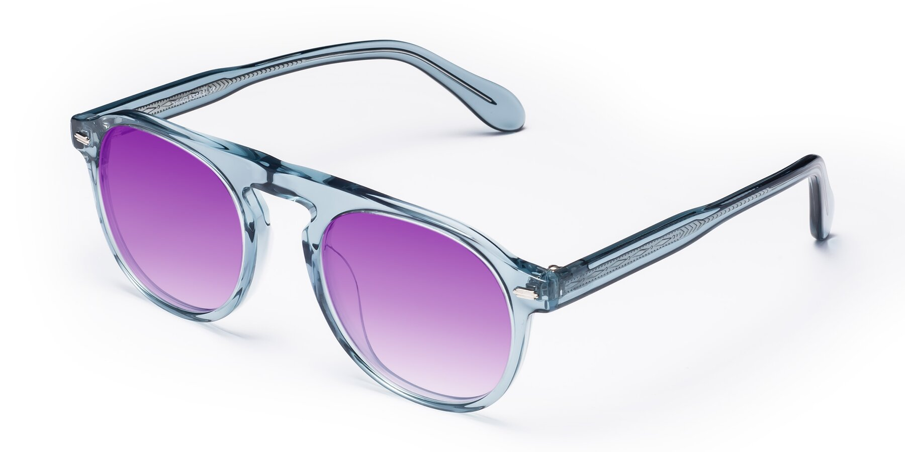 Angle of Mufasa in Light Blue with Purple Gradient Lenses