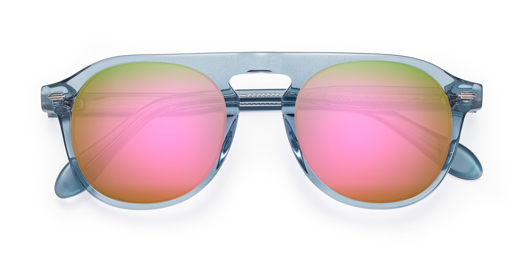 Folded Front of Mufasa in Light Blue with Pink Mirrored Lenses